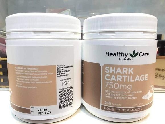 Sụn cá mập Shark Cartilage 750mg mẫu mới hãng Healthy Care 1